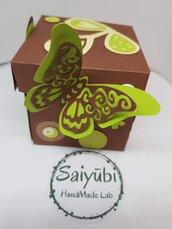 Scatolina bomboniera confezione regalo farfalla decorata