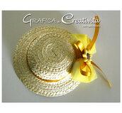 n.5 Bomboniere country:  cappellino di paglia con girasole
