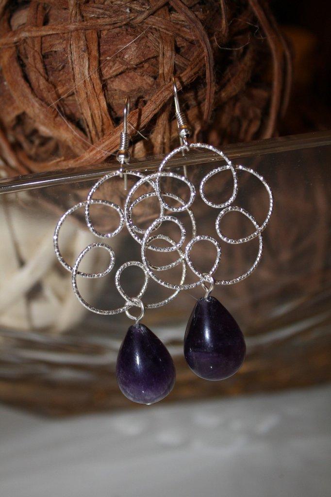 orecchini con ametista e fiori in argento