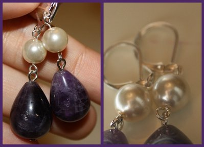 orecchini con ametista e perle bianche