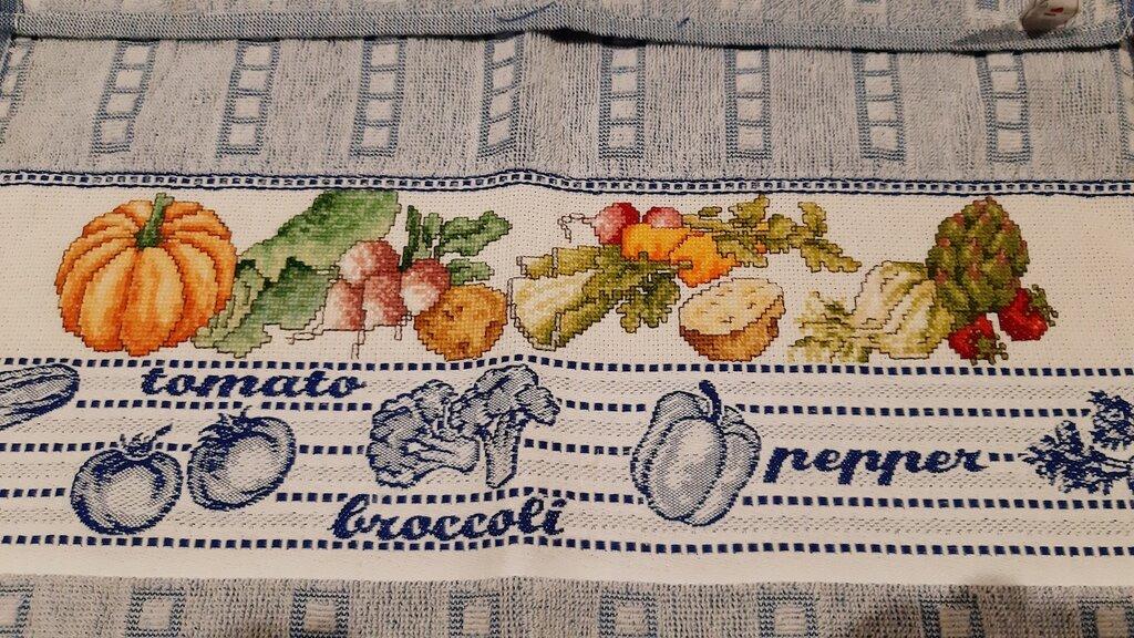 Asciughino / Asciugapiatti cucina in spugna colore blu (tema verdure)
