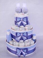 Torta pannolini BAMBINO con prodotti + banner nome