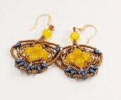 orecchini tessitura perline con pietre giada gialla schema ideato da tizianatarquini