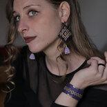 gioielli etnici online , bracciale e orecchini di tessuto ricamato