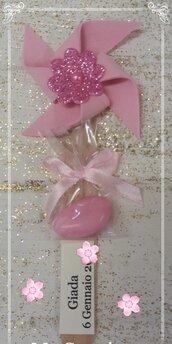 Girandola segnaposto monoconfetto rosa