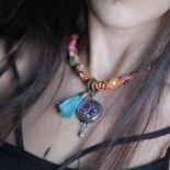 collana unica di tessuto ricamato con gli specchi , gioielli tradizionali online