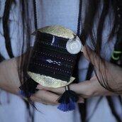 collana etnica di ottone e tessuto antico , gioielli etnici online