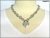 Collana a catena con lucchetto cuore, colore argento lunga cm.44 misura regolabile , idea regalo - Italyhere