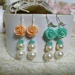 Orecchini con rose e perle, orecchini  argento 925, orecchini con perle, regalo amica, regalo per lei