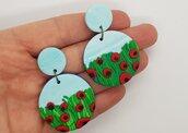 Orecchini tondi papaveri fimo pasta polimerica rosso verde idea regalo