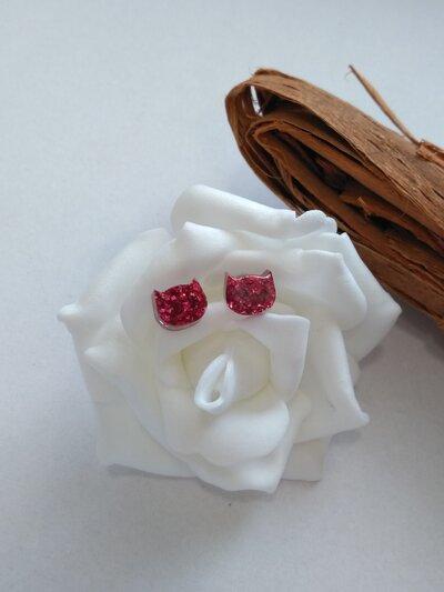 Orecchini donna orecchini lobo pagliuzze rosse orecchini in resina fatti a mano con stampo a forma di gatto