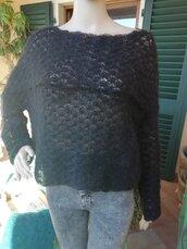 Maglia simil pipistrello in lana kid mohair nera