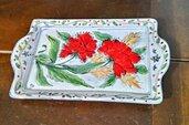Vassoio di ceramica forma rettangolare conlda e manici piatti, dipinto a mano con papaveri, foglie e spighe di grano