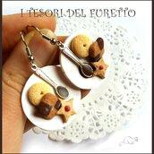 """Orecchini fimo """" Piattino con biscotti """" miniatura cibo idea regalo  kawaiii"""