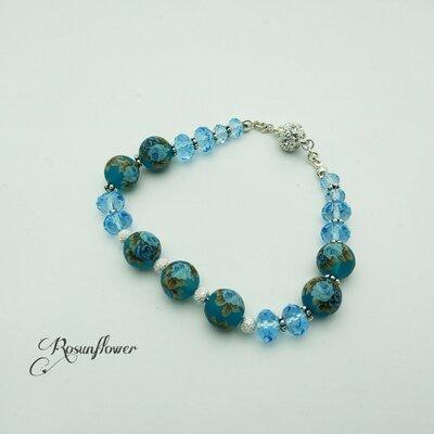 Bracciale azzurro con perle tensha, braccialetto con cristalli di swarovski, regalo per lei, regalo di anniversario