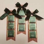 Segnaposto cioccolatini rosa antico glitterato compleanno donna