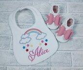 Bavaglia arcobaleno e scarpine con fiocco personalizzati - Bimba Neonata 3/6 mesi