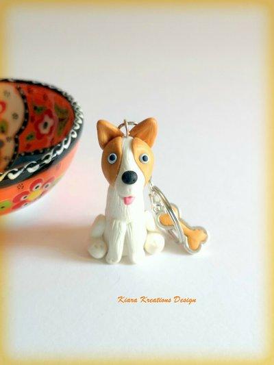 Portachiavi cane corgi personalizzato con nome su un charm a forma di osso, idea regalo per amanti dei pembroke corgi