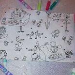 tovaglietta lavabile da colorare di stoffa per bambini
