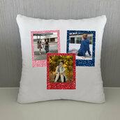 Cuscino Polaroid glitter personalizzato