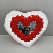 Cuscino Cuore di rose personalizzato
