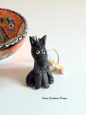 Portachiavi cane scottish terrier personalizzato con il nome in fimo, gioielli cane per amanti degli scottie, regalo scottish terrier
