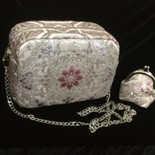 Borsa a tracolla e portamonete set Rosa/Argento Elegante fatte con tessuto Obi /Kimono Seta100%