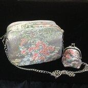 Borsa a tracolla e portamonete set Fiori Eleganti fatte con tessuto Obi /Kimono Seta100%