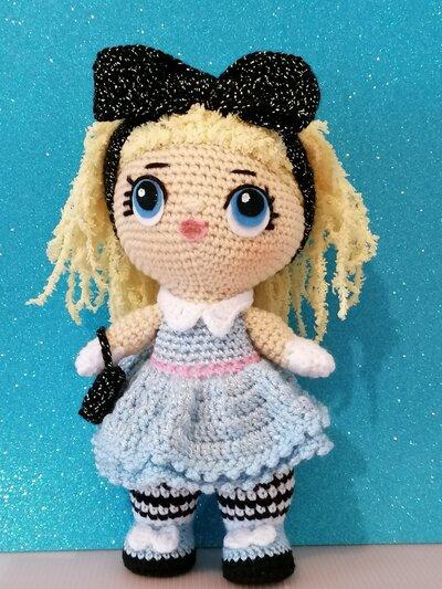 """Bambola tipo lol """"Alice"""", amigurumi"""