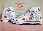 Sneakers personalizzate sposa dipinte a mano