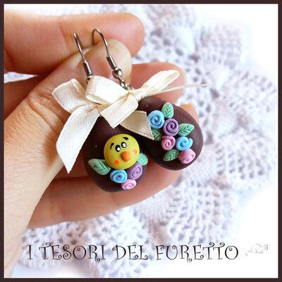 """orecchini Pasqua """" Uovo cioccolata  e pulcino """" fimo cernit kawaii idea regalo"""
