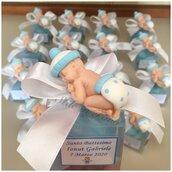 #Bomboniere realizzate per il #Battesimo del piccolo Gabriele. Scatolina personalizzata con targhetta e con #calamita bimbo. Realizzabile anche per femminuccia.