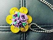 Ciondolo Rose Viola Wire