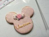 Biscotti segnaposto tema Minnie festa a tema oro battesimo compleanno segna posto sweet table