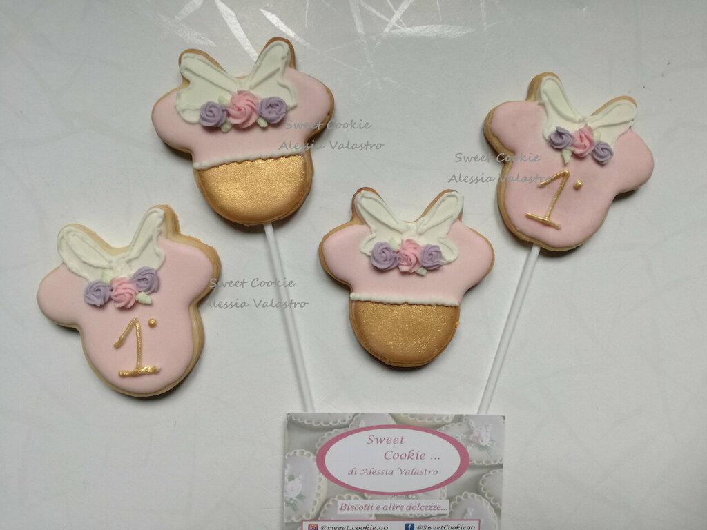 Biscotti decorati segnaposto festa a tema minnie 1 anni compleanno biscotto ghiaccia reale sweet table
