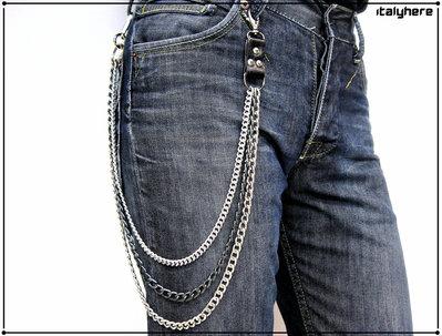 Catena per pantaloni e jeans, catena  tripla, attacco in pelle di vacchetta concia vegetale, 2 catene argento e 1 canna di fucile, cm.76