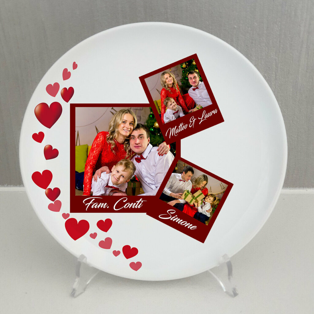 Piatto Polaroid famiglia personalizzato