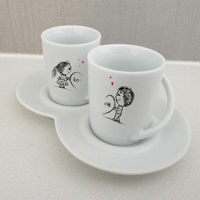 Set 2 tazzine da caffe Coppia personalizzata