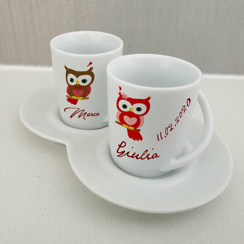 Set 2 tazzine da caffe Gufetti personalizzata