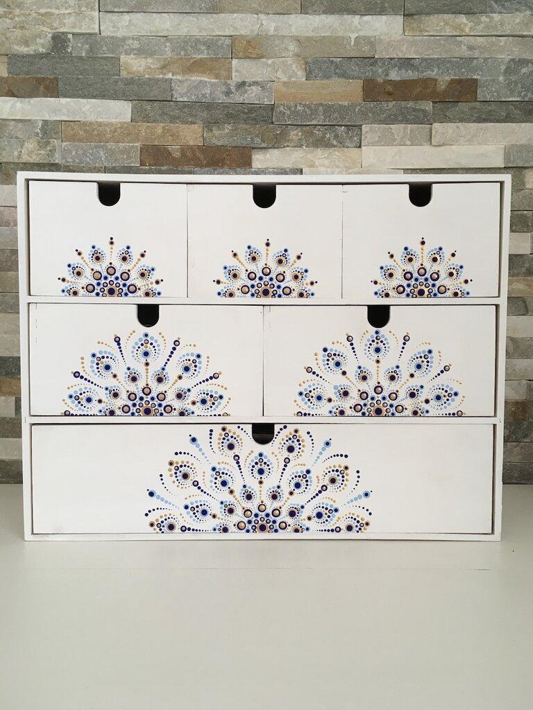 Cassettiera di legno porta oggetti con 5 cassetti decorati con mandala