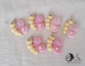 bomboniere compleanno comunione bimba farfalle su mollettina legno personalizzabili
