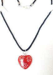 Collana donna cuore vetro murano millefiori, artigianale, acciaio, cordoncino, regalo, compleanno,