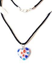 Collana pendente artigianale, cuore vetro murano millefiori, cordoncino, acciaio, regalo, compleanno,
