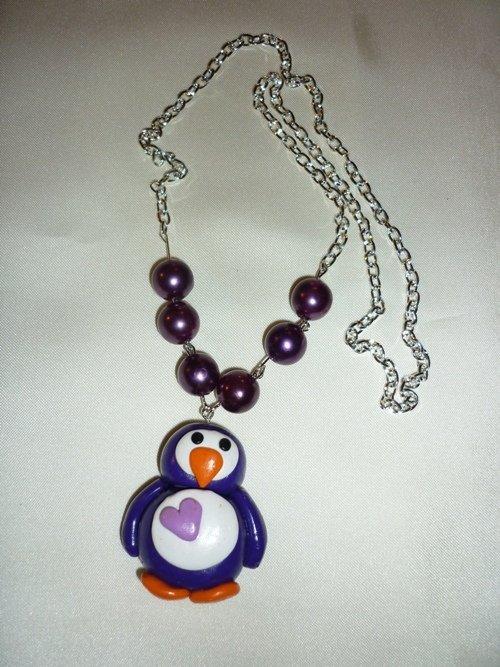 Collana con pinguino e perle