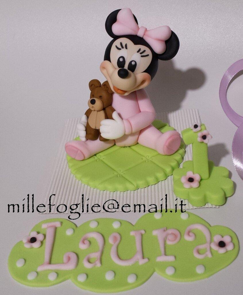 Decorazione torta baby Topolina in pasta di zucchero(Minnie)