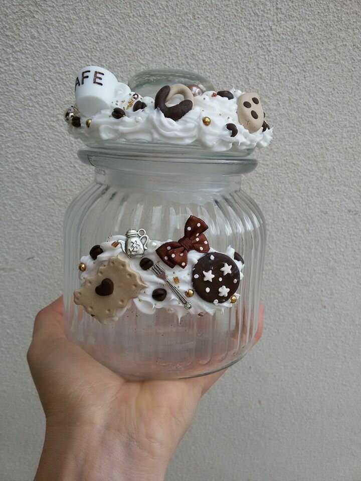 Barattolo in vetro decorazioni in fimo fatto a mano