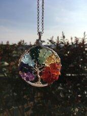 Collana con ciondolo albero della vita arcobaleno con filo di rame argentato