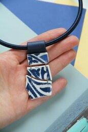Azulejo collana a girocollo blu