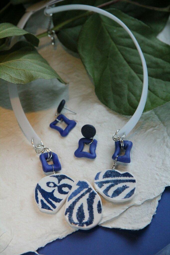 Azulejo collana con stringa in silicone bianco