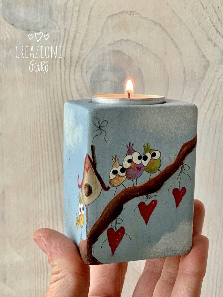 Porta candeline dipinto